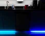 LFD-xSM - Installed under cabinet's toe kick in kitchen on right side of dishwasher. (Right) Shown Compared To Typical LED Strip (Left).