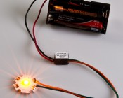 MicroPuck Buck/Boost Driver applied between a 3 volt power supply and a XPE series Cree LED