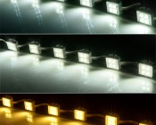 Waterproof LED module string for use in sign applications: (Top to Bottom) Cool White, Natural White, Warm White