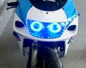 LED Angel Eye Headlight Accent Lights - COB: Installed on Motorcycle