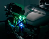 MEL-KIT-x60 - Multiple Strips can be purchased and installed to create this effect. Blue and Green are shown on this Ducati Motorcycle