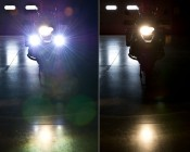 Motorcycle headlight illumination comparison with and without LED auxiliary light kit
