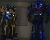 Optimus Prime and Bumblebee models using blue and cool white Little Dot LEDs