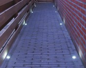 LED Step Lights - Brushed Nickel 40mm Plactic Trimmed Mini Round Deck / Step Accent Light - 1 Watt: Shown Installed In Walkway.