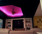RGB LED light strips can be used in trim for accent lighting and controlled with an RF or IR controller and remote