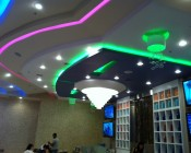 RGB LEDs installed in the ceiling for color accent