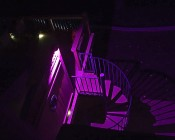 50 Watt RGBW LED Flood Light Fixture - Wi-Fi Compatible: Shown Illuminating Staircase.