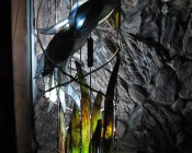 'This is a blue heron sculpture I made of stained glass and copper. It looks really great during the day, but looks absolutely fantastic at night when the lights are turned down low. Thanks for the help from your technician who helped me choose the right LED lighting for this application. I am now the resident stained glass lighting guru.'  -Steven H.