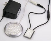 PLS-3A Sensor Switch in conjunction with a Compact Power Supply (CPS-12VDC-24W) and a Puck Light Fixture (PLF-xW36SMD)
