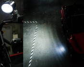 Oval LED Work Light installed on side of UTV for Rock Light