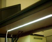 4NFLS-x2160-24V Flexible Light Strip installed under a desk for accent light