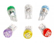 194 LED Bulb - 4 LED Wedge Base: All Available Colors: Green, Cool White, Blue, UV (Blacklight), Yellow, & Red