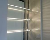 Glass Shelves with LEDs Lighting the Edges