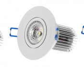 11 Watt COB LED Recessed Light Fixture w/ Multifaceted Lens-Tilted Head Positions