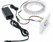 Wall Mount Touch Color RGB Controller shown with power supply, wiring, and RGB Color Changing LED Light Strip to form a complete system (these components are not included with the LDWM-RGB3-TC Controller)