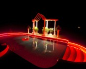 RGB LED Light Strips Lining Pool and Arbor