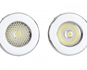 1 Watt LED Recessed Light Fixture: Front View- Showing Difference Between Flood (Left) & Spot (Right)