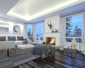 """6"""" Architectural LED Retrofit Downlight with Constant Current Driver: Shown Installed In Living Room Ceiling."""