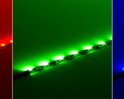 SWFLS-x30-BK 30 Side Emitting LED Flexible Light Strip with black circuit in red, green, blue