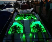 Green LED lights and strips illuminate and accent all of this customer's boat. Your boat is looking Super Bright, Mark! Thanks for sharing