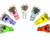 8-LED Miniature Wedge Base LED Tier Light Bulbs. Colors: Green, UV (Blacklight), Pink, Warm/Cool White, Blue, Yellow, Red