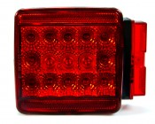 Each square trailer light has fifteen high flux red rear facing LEDs and 3 red side marker LEDs