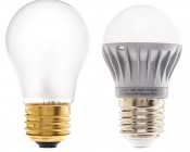 A15 Globe LED Bulb with A15 Incandescent Bulb for Comparison