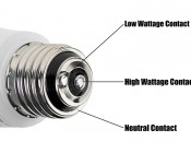 A19 3-Way LED Bulb - 30/70/100 Watt Equivalent: Showing Base Contacts for 3-Way Sockets