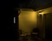 A19 Yellow LED Bug Light Bulb - 95 Watt Equivalent - 940 Lumens: Illuminated Over Back Sliding Glass Door
