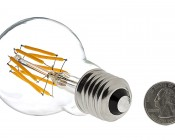 LED Vintage Light Bulb - A19 LED Globe Bulb w/ Filament LED - 6W: Back View With Size Comparison
