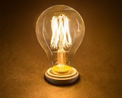 LED Vintage Light Bulb - A19 LED Globe Bulb w/ Filament LED - 6W: Turned On