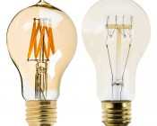 LED Filament Bulb - Gold Tint Victorian Style A19 LED Bulb with 7 Watt Filament LED - Dimmable: Profile View With Size Comparison To Incandescent Filament Bulbs
