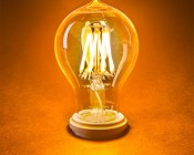LED Filament Bulb - Gold Tint Victorian Style A19 LED Bulb with 7 Watt Filament LED - Dimmable: Turned On