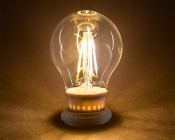 LED Filament Bulb - A19 LED Bulb with 4 Watt Filament LED, Warm White: Turned On