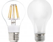 LED Vintage Light Bulb - A19 LED Globe Bulb w/ Filament LED - 8W Dimmable: Profile View with Size Comparison to Incandescent Bulb
