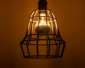 LED Filament Bulb - Silver Tipped A19 LED Bulb with 8 Watt Filament LED - Dimmable: Installed in Cage Decorative Fixture