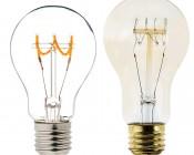 Flexible Filament LED Bulb - A19 Carbon Filament Style Bulb - Dimmable 10 Watt Equivalent - Spiral Horizontal Loop - 60 Lumens: Profile Comparison View