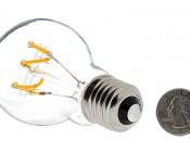 Flexible Filament LED Bulb - A19 Carbon Filament Style Bulb - Dimmable 10 Watt Equivalent - Spiral Horizontal Loop - 60 Lumens: Back View