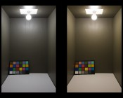 A19 LED Bulb - 85 Watt Equivalent - Dimmable - 840 Lumens: Box Illumination Natural White (Left) and Warm White (Right)