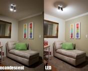A19 LED Bulb - 85 Watt Equivalent - Dimmable - 840 Lumens: LED/Incandescent Comparison Illuminated Sitting Room