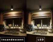 A19 LED Bulb - 85 Watt Equivalent - Dimmable - 840 Lumens: Incandescent and LED Comparison Over Sink In Kitchen