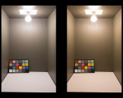 A21 LED Bulb - 110 Watt Equivalent - Dimmable - 1,100 Lumens: Illuminated In Box Natural White (Left) and Warm White (Right)