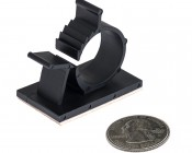 Adhesive Backed Adjustable Black Wire Clamp: