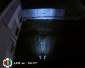 """2.5"""" Square 12 Watt LED Mini Auxiliary Work Light aerial shot of beam pattern 45 feet from target with a 60 degree beam."""