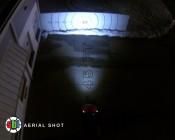 """3.25"""" Round 18 Watt LED Mini Auxiliary Work Light aerial shot of beam pattern"""