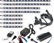 LED Golf Cart Lighting Kit - Multi-Strip Remote Activated RGB Color Changing Kit: 9 Strip Kit