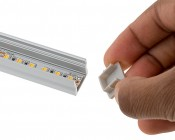 Deep Recessed Aluminum Profile Housing for LED Strip Lights: Showing Endcap Being Attached to Profile