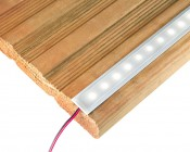 Slim Aluminum Profile Housing with Flange for LED Strip Lights: Shown Installed In Routed Step. (LED Strip Not Included).