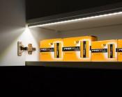 Slim Aluminum Profile Housing for LED Strip Lights: Shown Installed In Cabinet. (LED Strip Sold Separately).