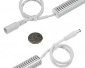 Aluminum LED Light Bar Fixture - O Shape: Back View With Power Connectors On Each End Showing Size Comparison
